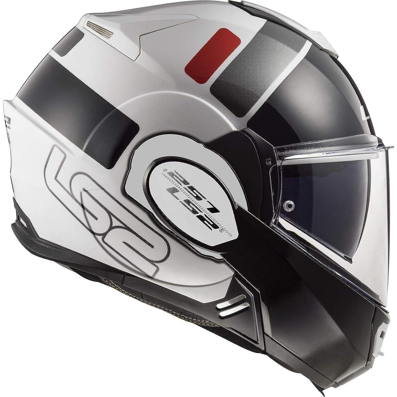 65-66cm LS2 FF399 Valiant Casque Moto Modulable Double Visi/ère pour Scooter Chopper Casque de Moto Homme et Femme Blanc-Noir-Rouge 3XL
