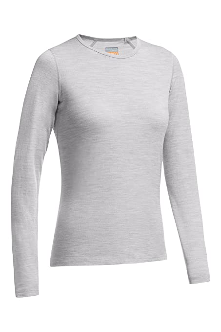 ac446ae568 Icebreaker Women's Oasis Long Sleeve Crewe Top, Blizzard, Large