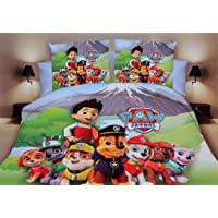 Blenzza Deco® Glace Cotton Cartoon Print Comforter Set for Double Bed 1 Double bedsheet,2 Pillow Covers,1 Comforter - paw Patrol