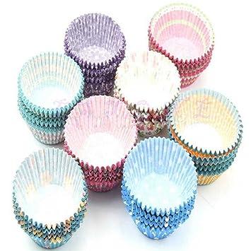 floralby Multicolor moldes de papel para cupcakes maletero magdalenas Cupcake de Papel para magdalenas 100 piezas: Amazon.es: Hogar