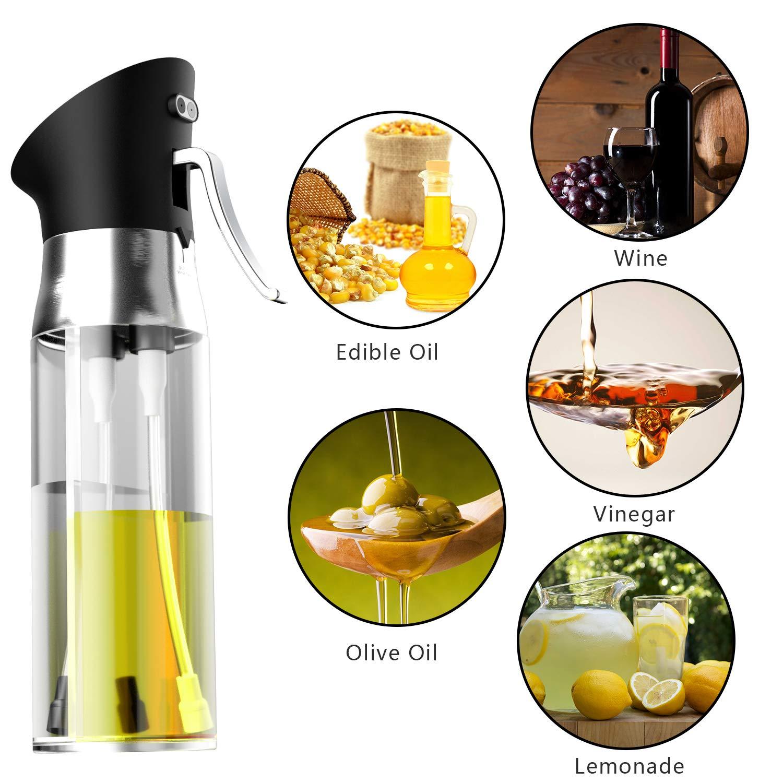 MojiDecor - Dispensador de aceite 2 en 1 con diseño innovador, spray de aceite y vinagre, dispensador de aceite, spray de 200 ml, acero inoxidable y ...