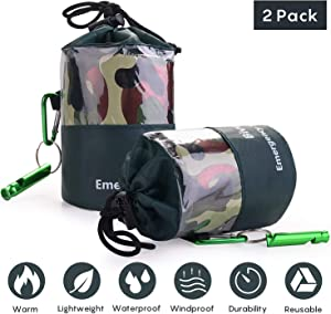 Emergency Survival Sleeping Bag Woodland Camo Bivy Sack Ultralight Waterproof Thermal Space Blanket Survival Kits with Carabiner, Whistle for Camping, Hiking, Outdoor, Emergency Shelter,2 Pack