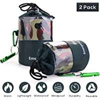 EAmber Emergency Survival Sleeping Bag Woodland Camo Bivy Sack Ultralight Waterproof Thermal Space Blanket Survival Kits…