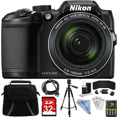 Nikon COOLPIX B500 Black 16MP 40x Optical Zoom Digital Camera 32GB Bundle includes Camera, Bag, 32GB Memory Card, Reader, Wallet, AA Batteries + Charger, HDMI Cable, Tripod, Linen zone Cloth and More