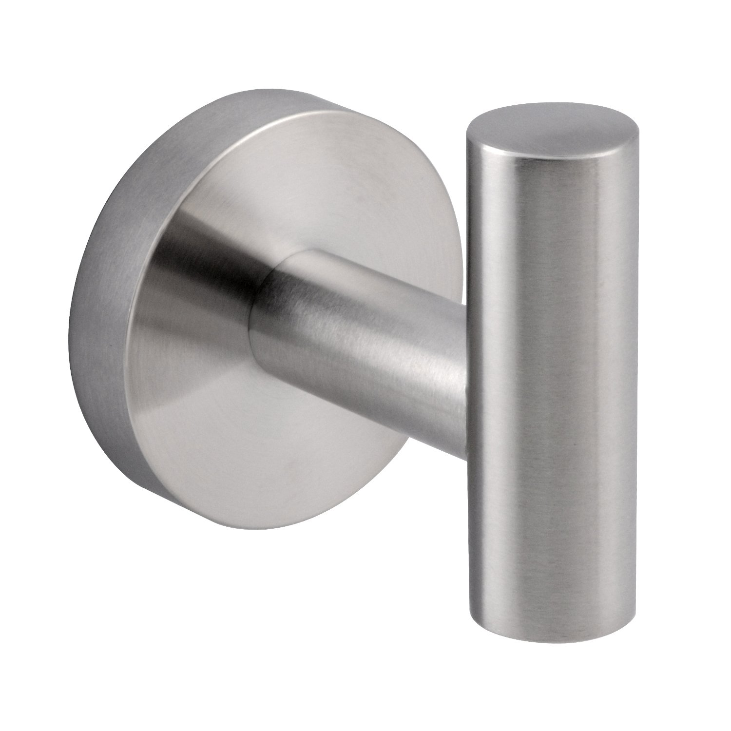 Modern stainless steel single prong round robe hook