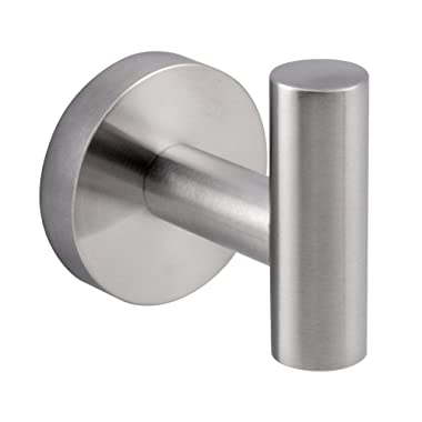 Woooow Modern 304 Stainless Steel Single Prong Round, Wall Robe Hook Brushed Nickel, 1-pack