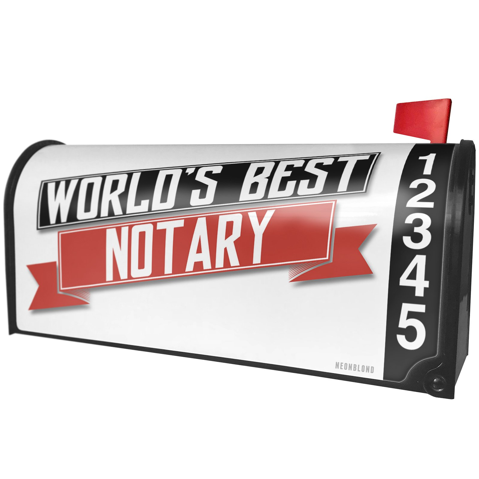 NEONBLOND Worlds Best Notary Magnetic Mailbox Cover Custom Numbers