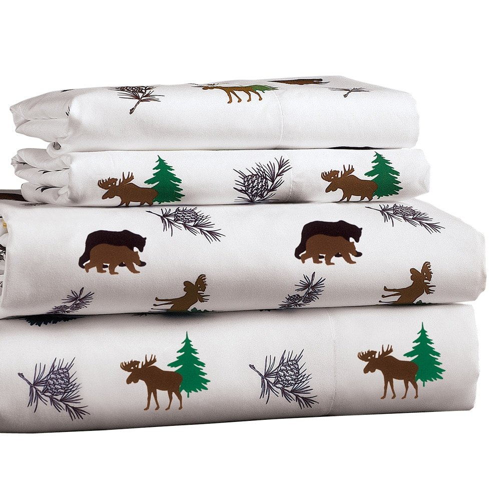 Collections Etc Woodland Inspired Sheet Set with Moose, Bears, and Pine Sprigs, Includes Fitted Sheet, Flat Sheet and Pillow Case(s), Queen
