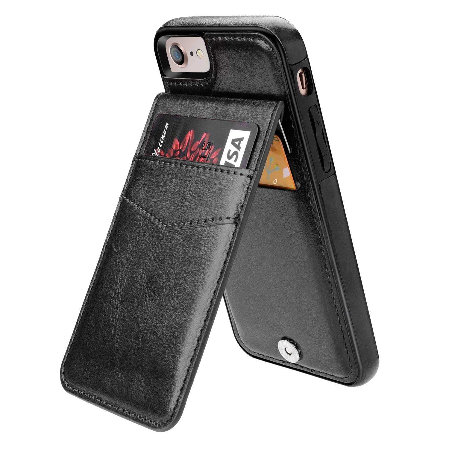 iPhone 7 iPhone 8 Case Wallet with Credit Card Holder, KIHUWEY Premium Leather Magnetic Clasp Kickstand Heavy Duty Protective Cover for iPhone 7/8 4.7 Inch(Black) by KIHUWEY