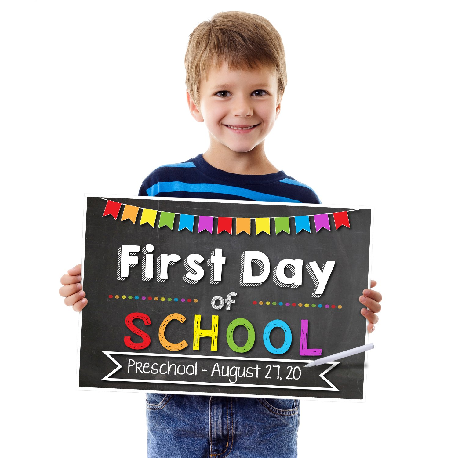 Katie Doodle SG007 1st Day of School Chalkboard Poster Sign-Customizable (Includes Chalk Writer), 12x18 inches, Black (Chalkboard Style)