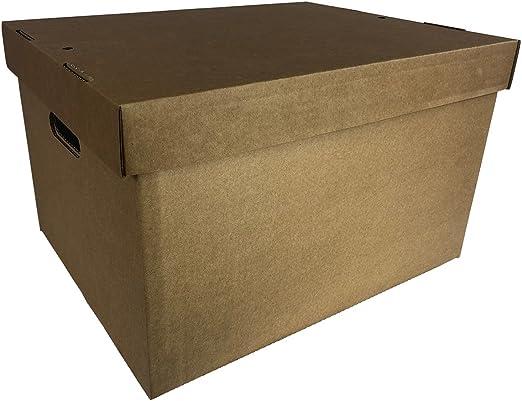 15 x caja de cartón Archive de almacenamiento de oficina archivador de con tapa y asas de transporte 405 x 305 x 255 mm/16