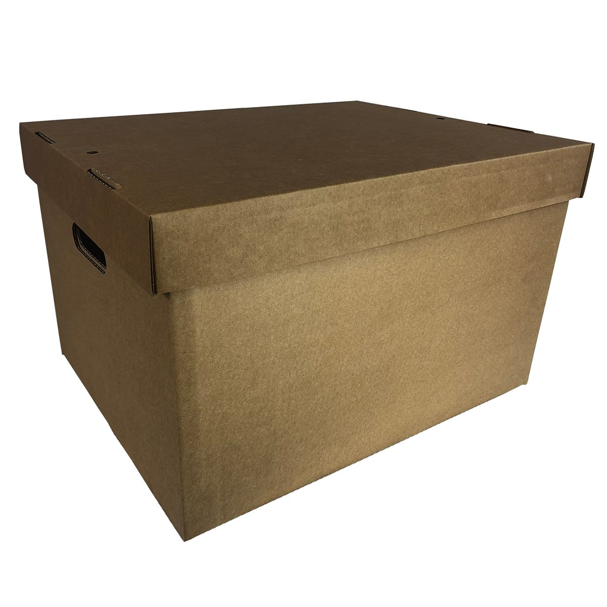 5 x Pop Up Collapsible Office Storage Archive Cardboard Box Filing with Lid and Carrying Handles A4 Box and Lid Pack of 5 (16