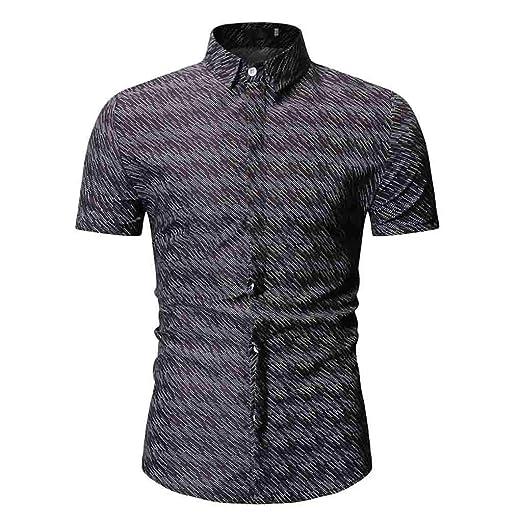 Stoota Botton Down Mens Summer Shirt,Print Slim Fit Short Sleeve Top Black