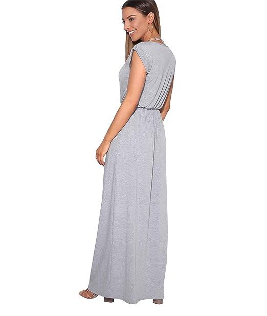KRISP® Damen Bodenlanges Kleid Langes Jersey Maxikleid  Amazon.de   Bekleidung 6d06c9f46c