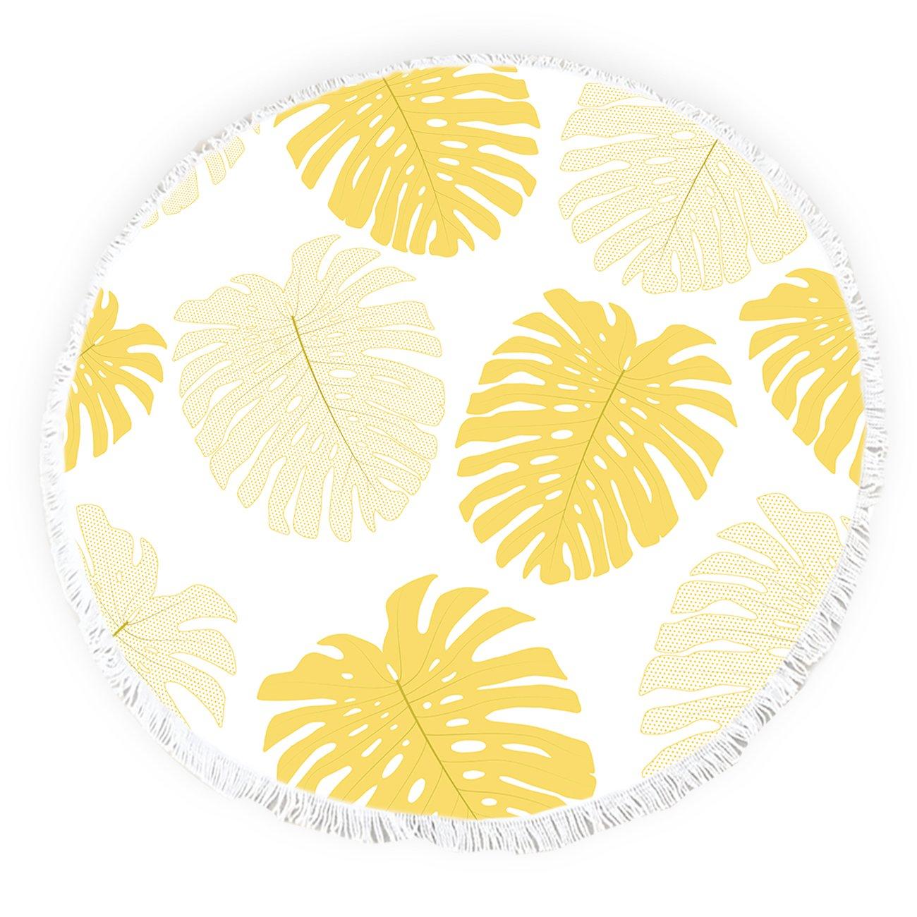 Yun Nist Toallas de Playa Redondas con borlas Amarillas Tropicales Plantas flecas Círculo Grueso Gypsy Alfombra de Picnic Yoga: Amazon.es: Hogar