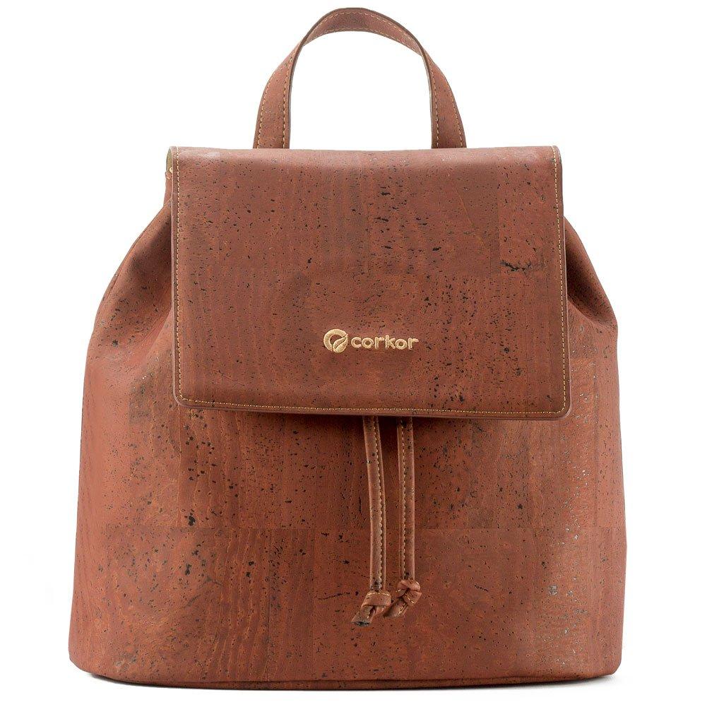 Corkor Cork Backpack - Vegan Handbag For Women Top Flap Back Pack Travel School Red Color