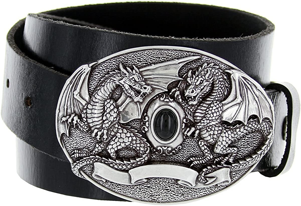 Hagora Men 1.5 Wide Genuine Cowhide 2 Middle Ages Dragons Silver Buckle Belt
