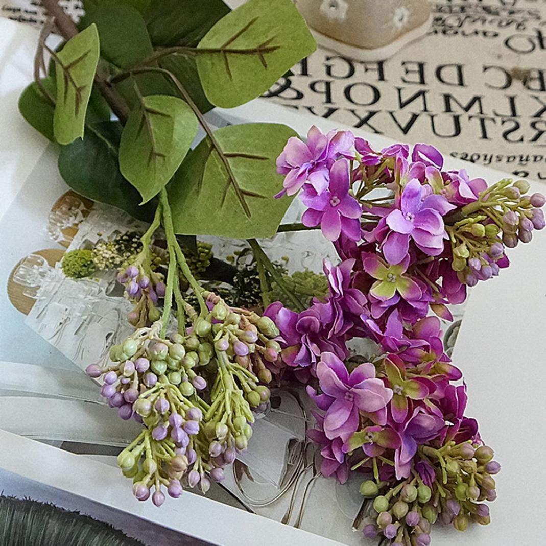 LbojailiAi Flor Artificial 1 Pieza de Lila Artificial Falso Jard/¨/ªn de Flores Ramo de Boda Fiesta decoraci/¨/®n de CAF/¨/¦ en casa Blanco