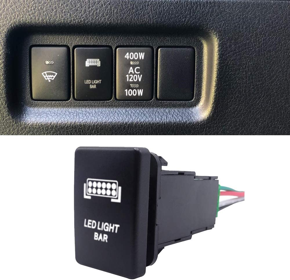 WeiSen Push Switch with Fog Lights Symbol Blue Backlight ON-Off with Connector Wire Kit Fit Toyota Tacoma Tundra 4Runner etc