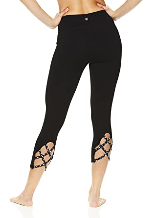 3a76c303e5bf4 Amazon.com: Gaiam Women's Capri Yoga Pants - Performance Spandex Compression  Legging - Black Stella Strappy, X-Small: Clothing
