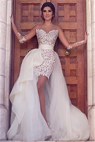 bba2894c56 Lazacos Women s Sheer Lace Appliques Short Wedding Dress With Detachable  Tulle Skirt at Amazon Women s Clothing store