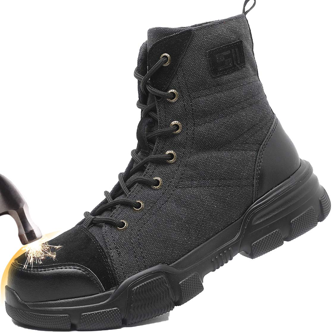 SUADEX Steel Toe Boots for Men Military Work Boots Indestructible Work Shoes for Women Athletic Safety Shoes Composite Toe
