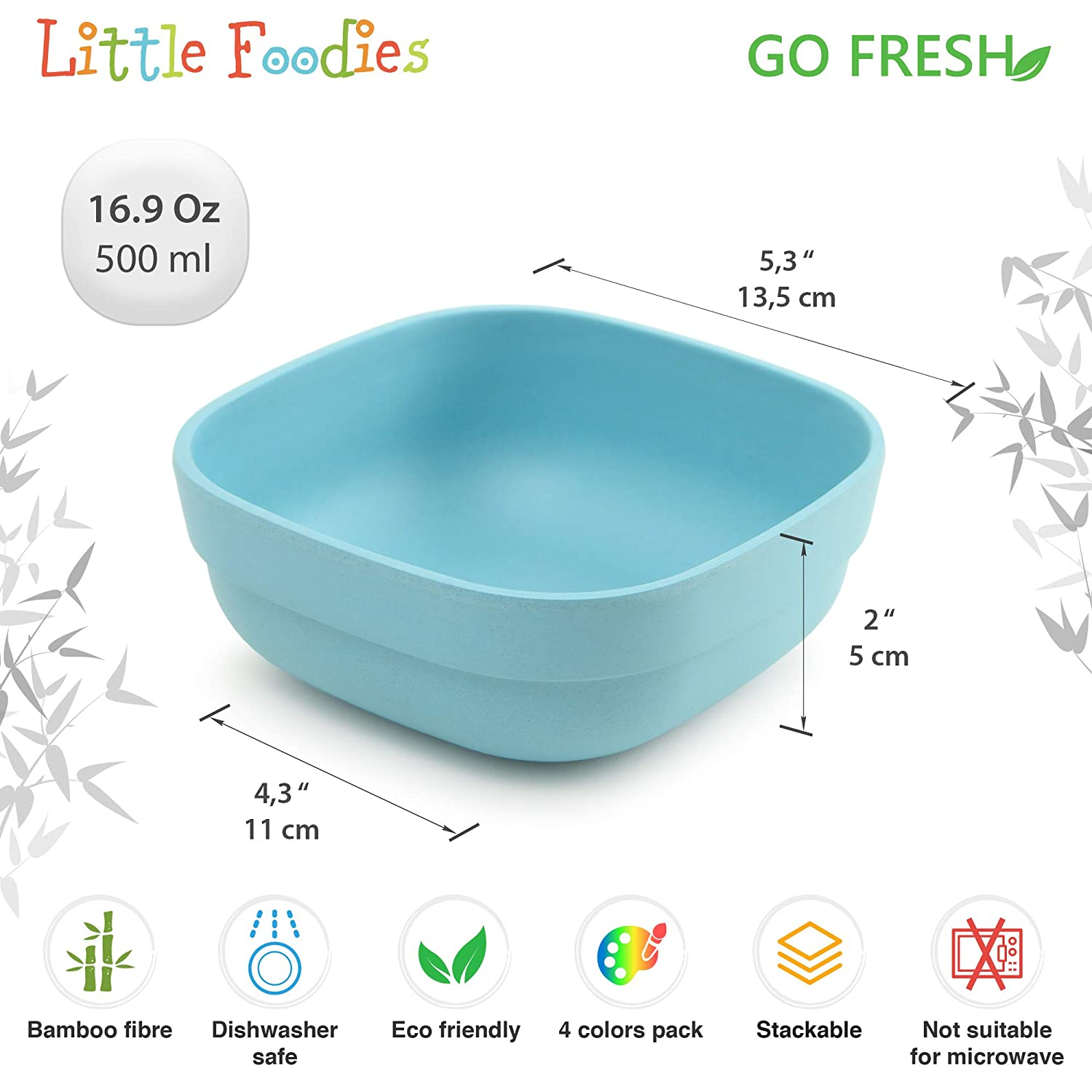BPA Free Eco-friendly kids bamboo bowls Set of 4 kids bamboo dinnerware for everyday use GO FRESH Bamboo Kids Bowls Dishwasher safe and Stackable