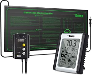 """iPower GLHTMTCTRLHUMDHTMTS 10"""" x 20.5"""" Hydroponic Seedling Heat Mat and Digital Thermostat Control and Humidity Monitor Indoor Thermometer Combo Set for Plant Germination, Black"""