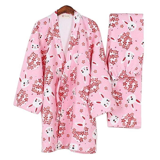 Fancy Pumpkin Pijamas de Estilo japonés más Grueso de Las Mujeres Pijamas de Kimono cálido Traje