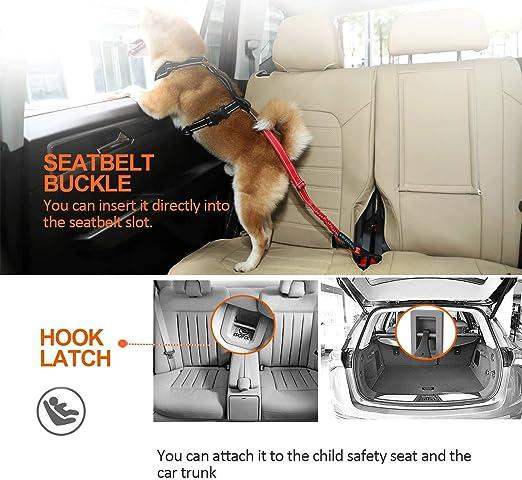 Iokheira Hunde Sicherheitsgurt 3 In 1 Verstellbar Sicherheitsgeschirre Für Auto Reflektierend Bungee Hundegurt Mit Haken Für Alle Hunderassen Autotypen Rot Haustier