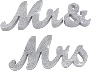 iShyan Mr & Mrs Sign Wedding Wooden Letters Free Standing for Wedding Sweetheart Head Table Decor,Silver