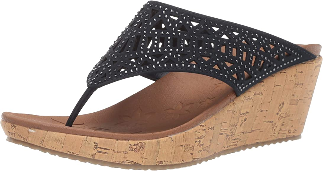 816e7ab8b50 Skechers Women's Beverlee-Summer Visit-Hooded Rhinestone Laser Cut Wedge