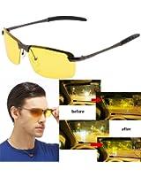 Mens Womens Night View Night Vision Anti-glare Non-polarized & Polarized Wayfarer Avaitor Rimless Wraparound Wrap around Driver's Yellow Driving Glasses Sunglasses Goggles