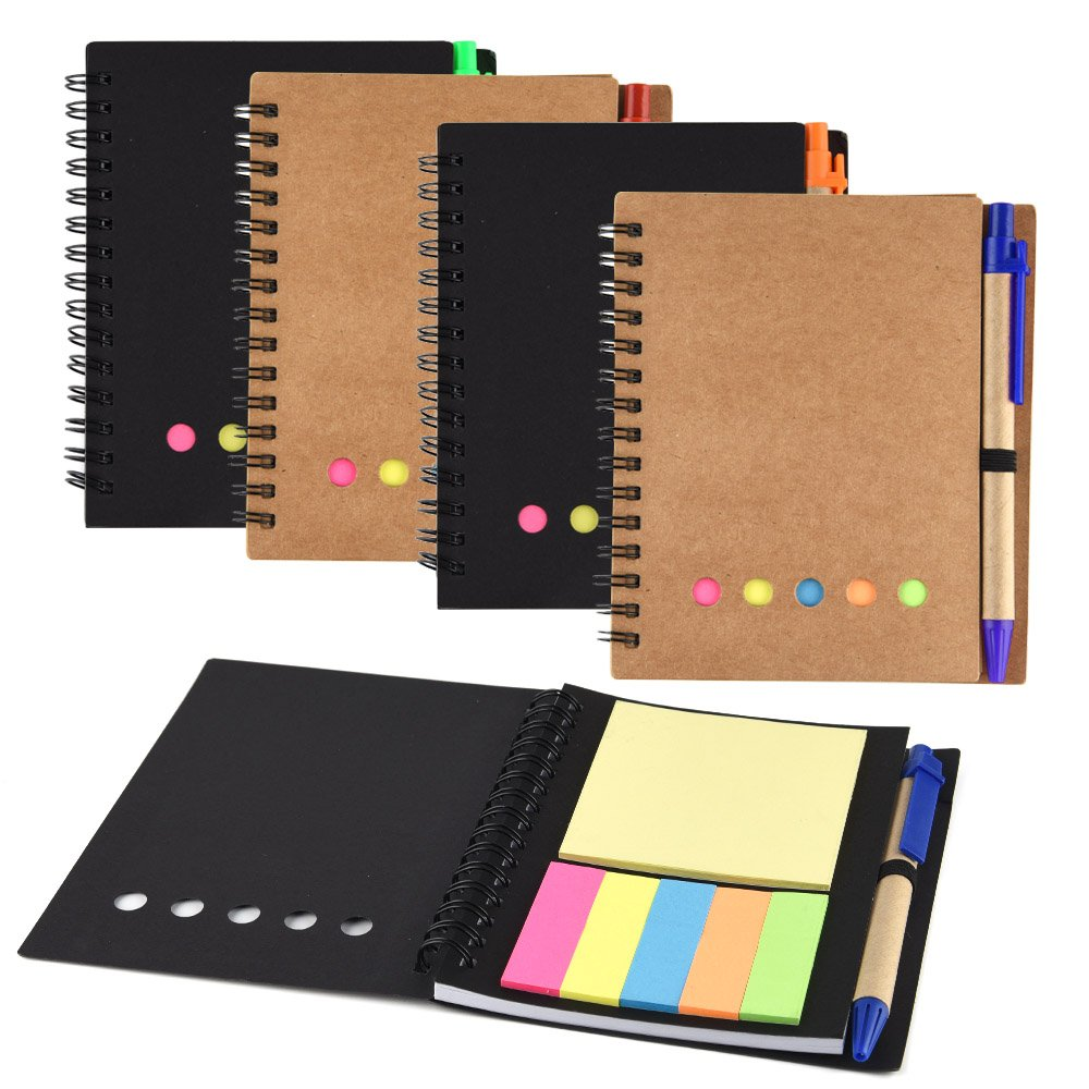 Coopay 4 Pack Spiral Notebook Journal Notepad with Pen in Holder and Sticky Notes, Page Marker Colored Index Tabs Flags (Black and Brown Cover)