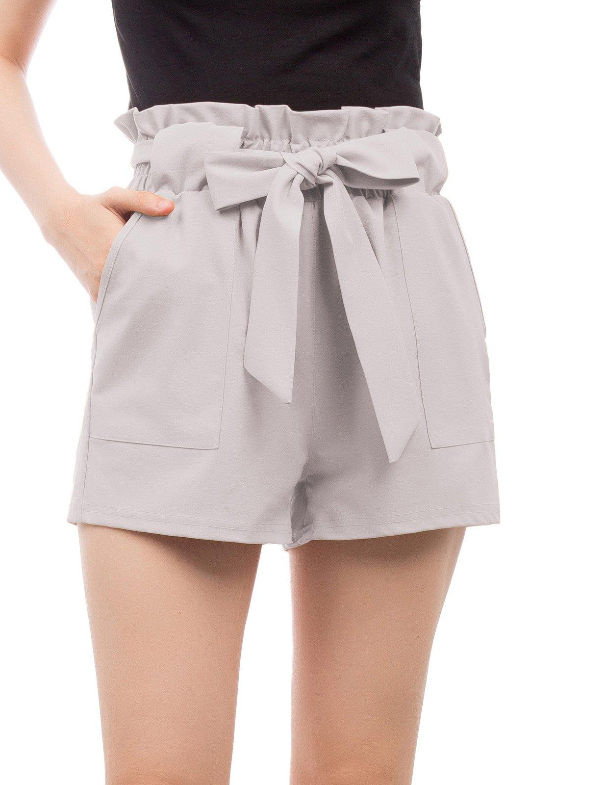 GRACE KARIN Women's High Waist Casual Frill Bowknot Shorts M Light Apricot