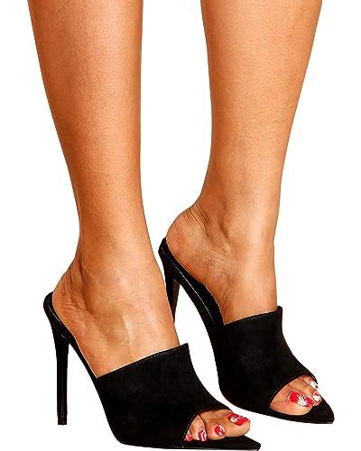 f37c5332e45 CAPE ROBBIN Women's Dressy Pointy Toe Slip On Mule Stiletto Heels