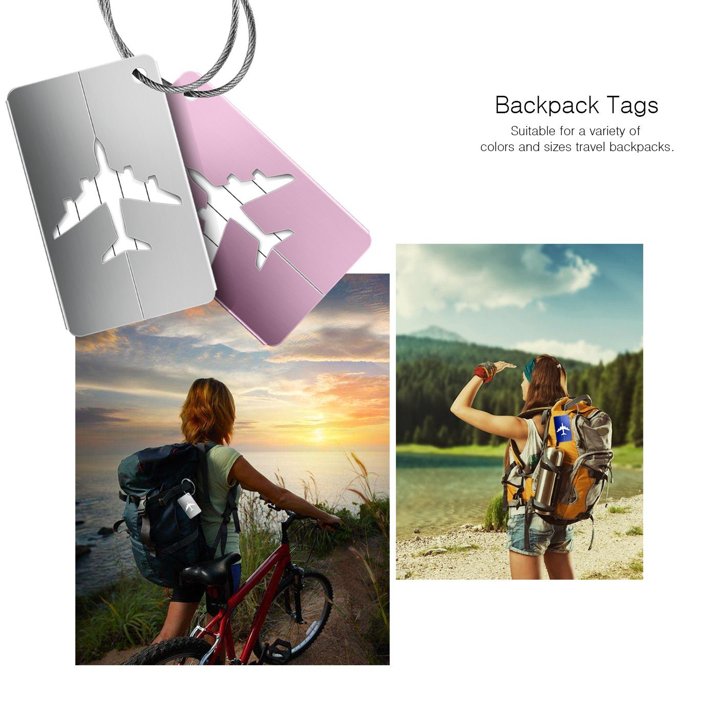 Luggage Tags 10pcs,Baggage Tags Tag Labels with Business Card Holder(10 colors) by Yosemy (Image #4)