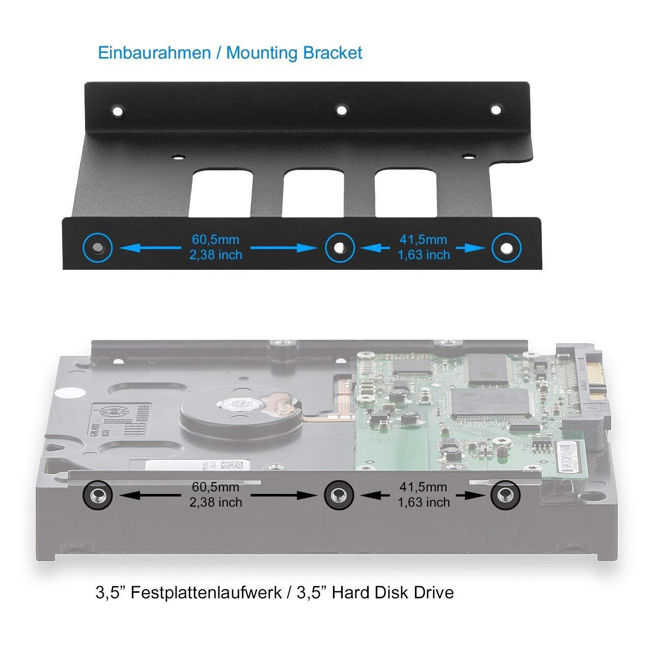 SSD a 3,5 Marco de Montaje Desmontable Marco de Montaje rieles con Tornillos incluidos Cable SATA y Adaptador de Corriente Marco de Montaje deleyCON para Discos Duros de 2,5