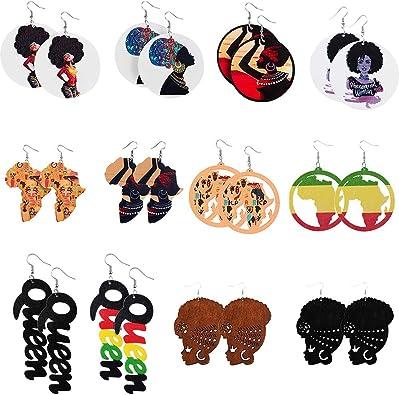 6Pcs DIY Wooden Earrings,Animal wooden earring,African Map earrings,Africa Map Wood earring,Animal Earrings,Ethnic Jewelry-78x61mm-FF460#