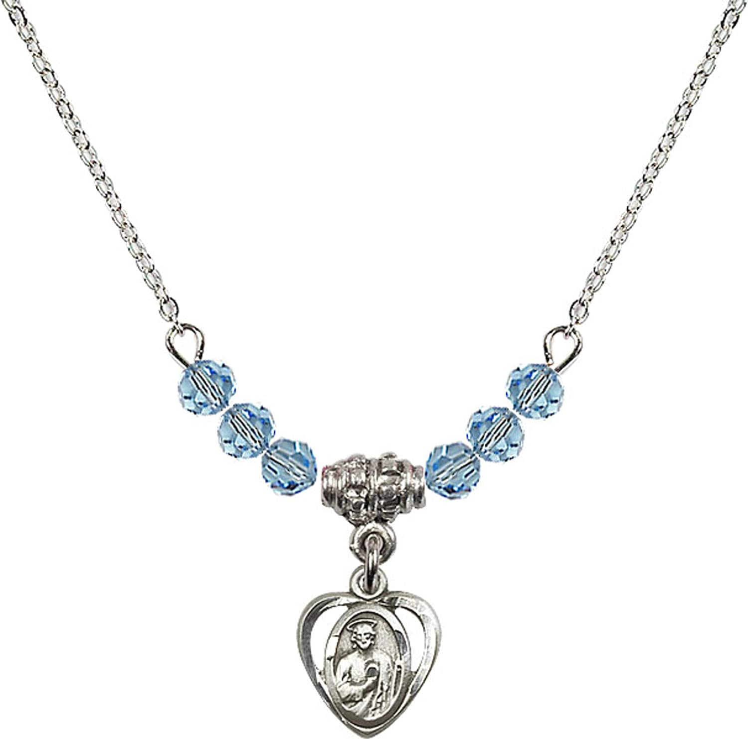 Bonyak Jewelry 18 Inch Rhodium Plated Necklace w// 4mm Blue March Birth Month Stone Beads and Saint Jude Charm