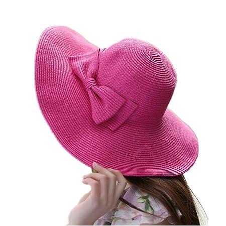 b68a48a6575 QianSheng Fashion Girls Women s Summer Beach Sun Visor Hat Wide Large Brim  Floppy Travel Hat Straw Hat Bucket Hats with Cute Bowknot - Rose Red  ...
