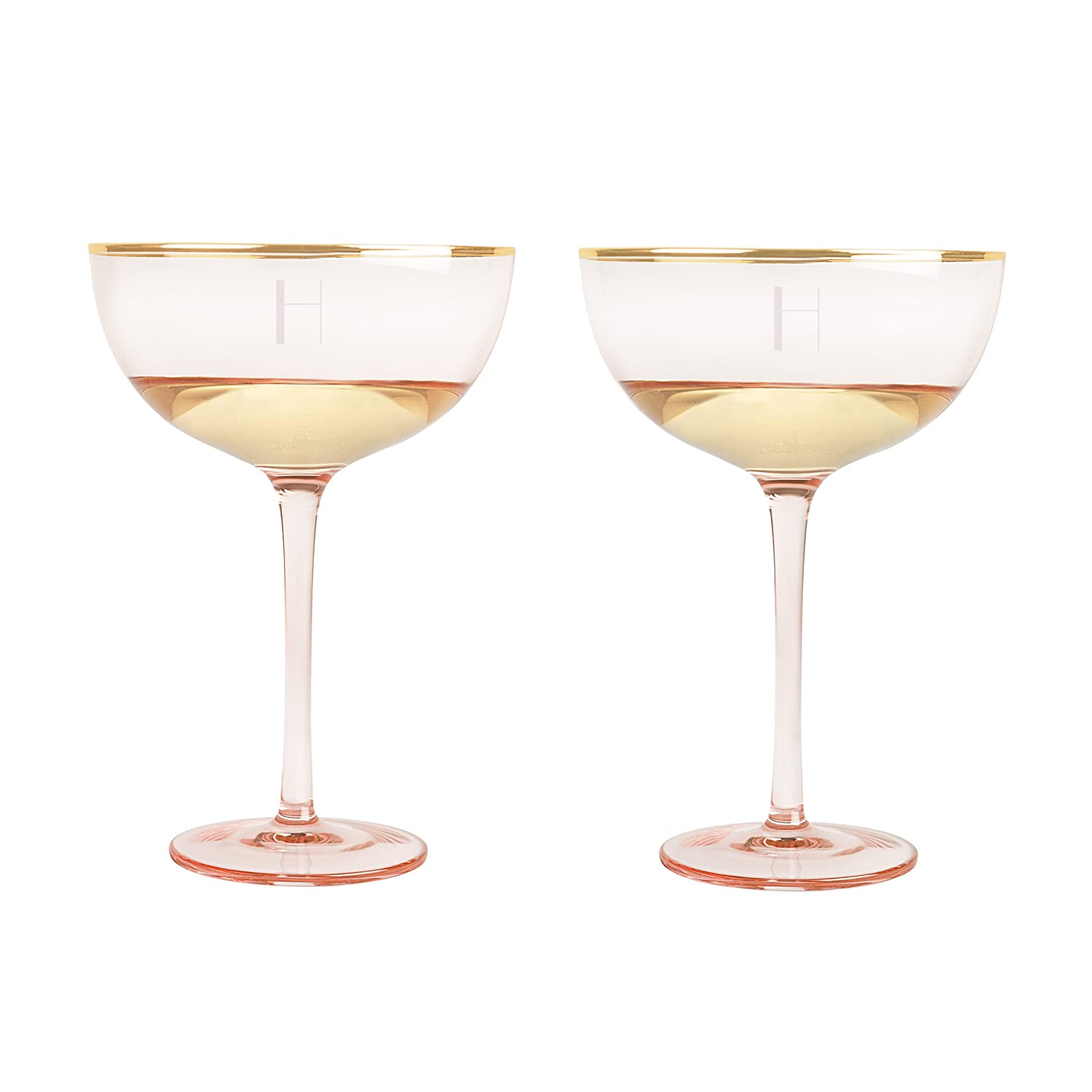 Cathy's Concepts 1240RS-A Personalized 8 oz Blush Rose Gilded Rim Coupe Flutes, A, Pink Cathy's Concepts