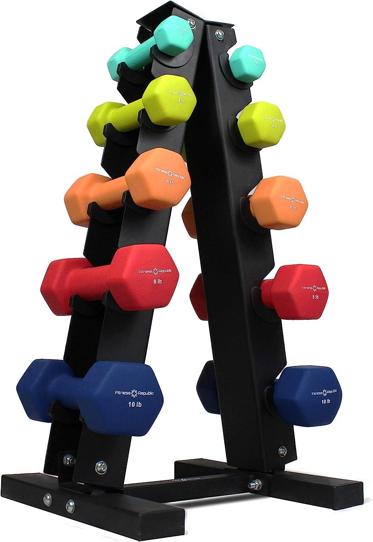Fitness Republic Solid Steel Dumbbell Rack Holder Combo, A-Frame Dumbbell Storage Racks, Free weights dumbbells set for home gym exercise, 3/5 Tier weight racks for dumbbells, weight tower, 3/5 Holder