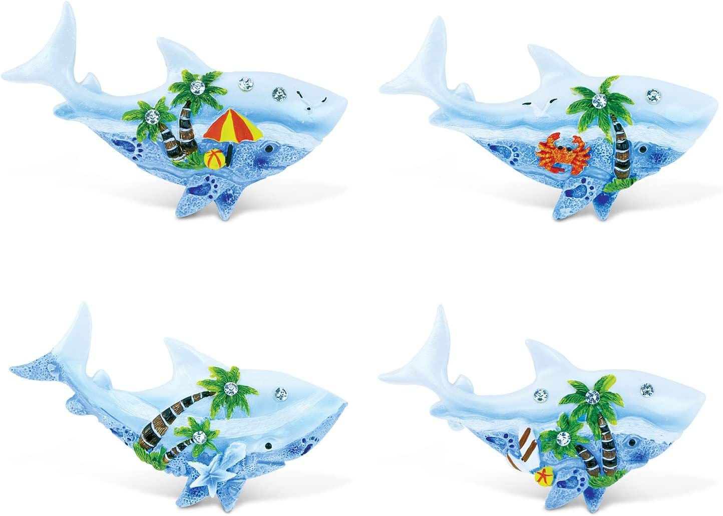 Puzzled Shark Refrigerator Blue Sand Magnet - Ocean Life Theme - Set of 4 - Unique Affordable Gift and Souvenir - Item #7677