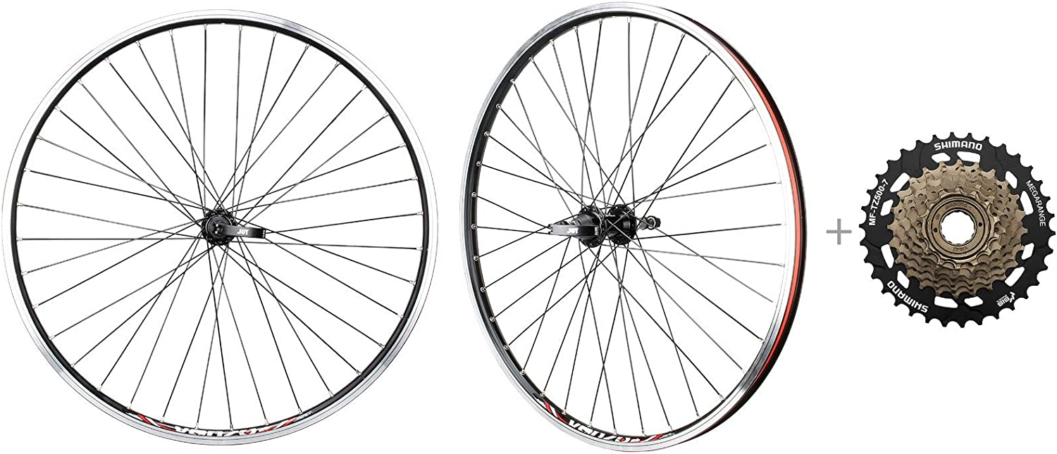 Amazon Com Cyclingdeal Bicycle Mountain Bike 26 Inch Double Wall Rims Mtb Wheelset 26 7 Speed With Compatible With Shimano Mf Tz500 7 14 34t Freewheel Front Back Wheels Sports Outdoors