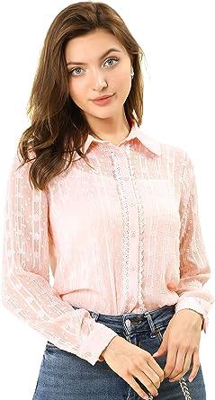 Women Semi Sheer Striped Long Sleeve Top