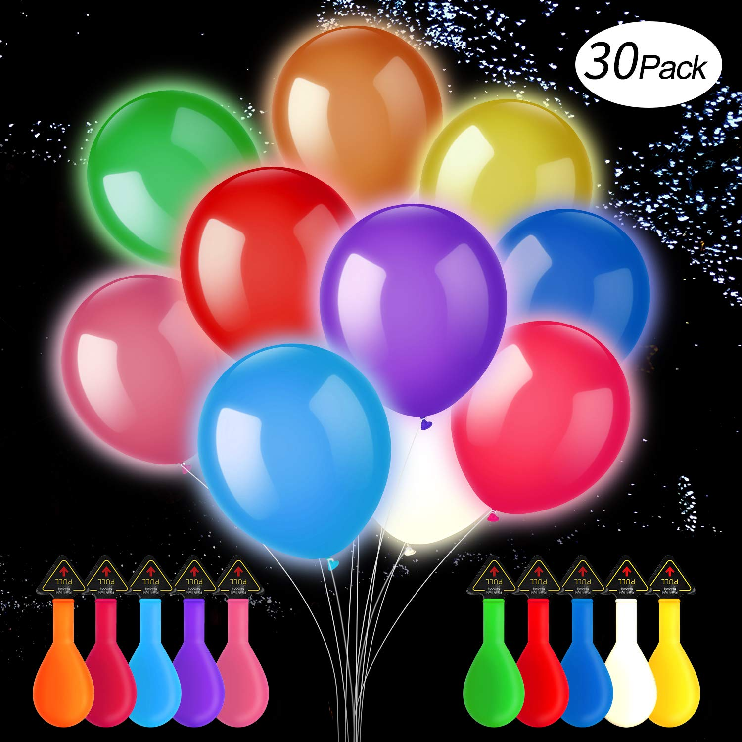 LED Balloons, Light Up Balloons-10 Colors, Flashing Lasts 12-24 Hours, Ideal For Bonfire Birthday Party And Decorations (30 Pack)