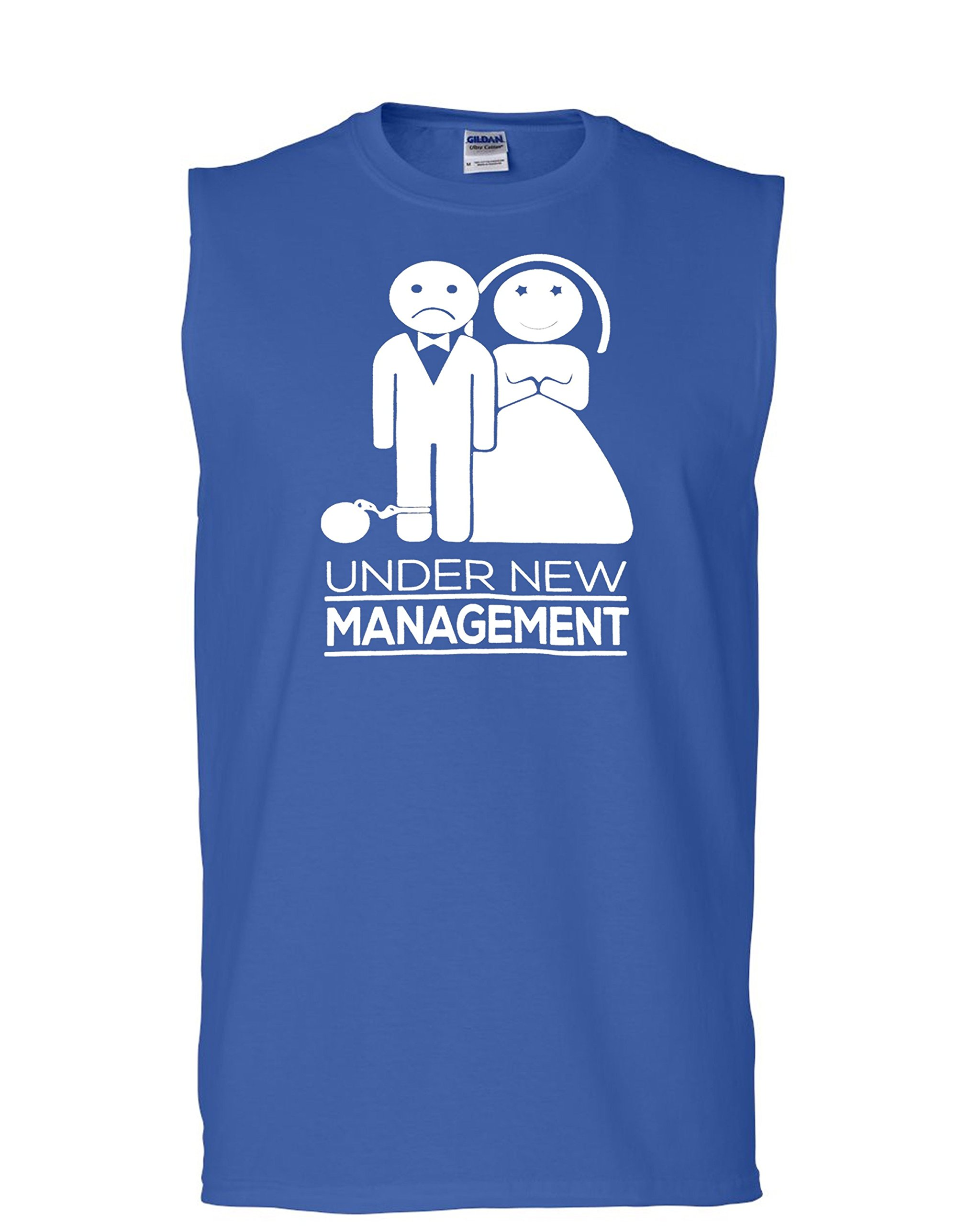 Hot Ass Tees Adult Unisex Under New Managment Wedding Couples Funny Novelty Parody Sleeveless T-Shirt Royal Blue XX-Large