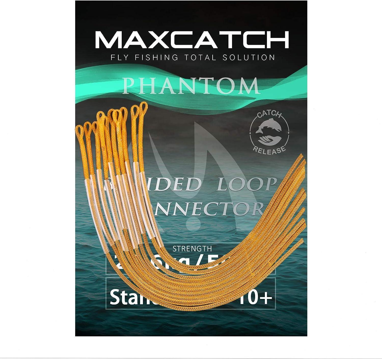 Orange//Klar//Gelb MAXIMUMCATCH geflochtener Schlaufenverbinder 10 St/ück pro Packung 30lb//50lb Fliegenfischen Loop Connectors