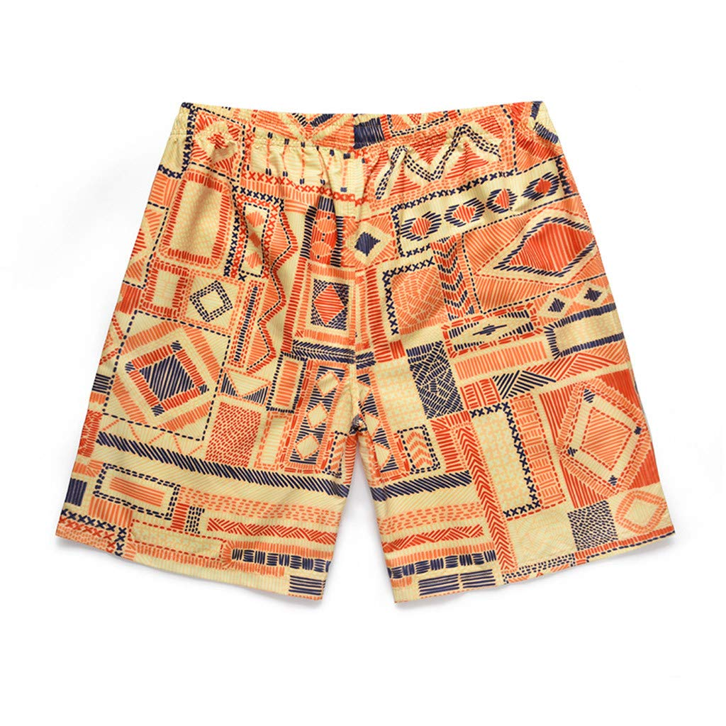 STORTO Mens Printed Board Shorts Summer Floral Pattern Pockets Bind Waist Loose Trunks Shorts
